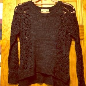 Black Knit Sweater with Crochet Sleeves